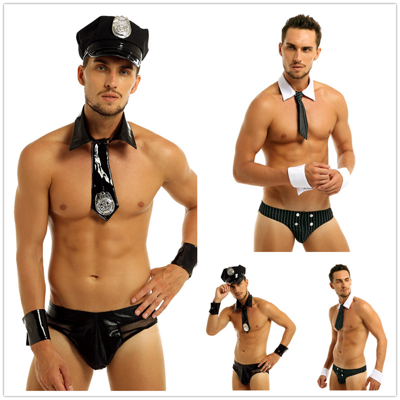 Mens Black Lingerie Maid Role Play Costume Outfits Set Clubwear Collar Handcuffs