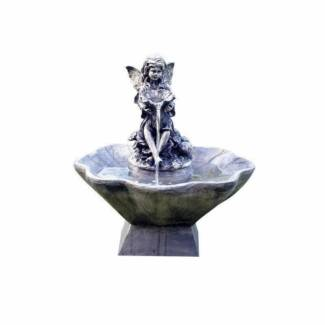 Flower Fairy and Bowl Water Fountain Feature Solar pump Timer LED