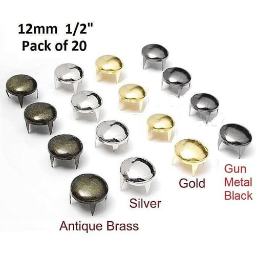 "Pkg of 20 ROUND 1/2"" (12mm) Metal Spike Tack Studs (5412) Purses Belts Leather"