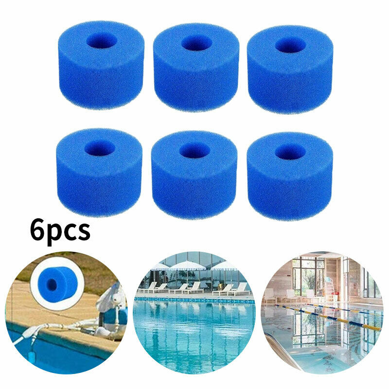 6Pcs for Intex Pure Spa Reusable Washable Foam Hot Tub Filter Cartridge S1 Type