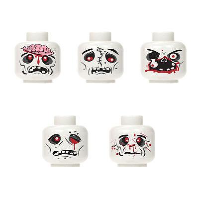 Lego Custom Assorted White Zombie Minifigure Head walking dead City Halloween #2