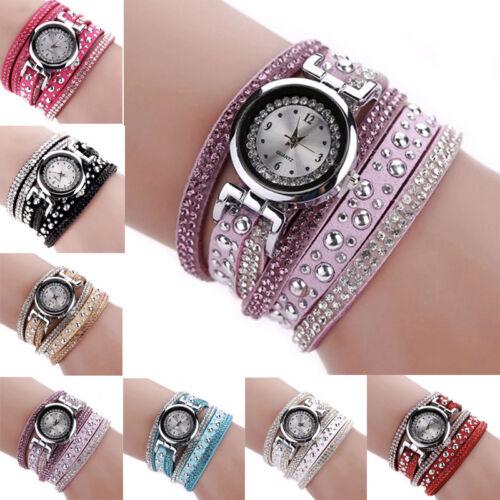 Armbanduhr Damenuhr Uhr Armband Wickelarmband silber Strass Glitzer Nieten