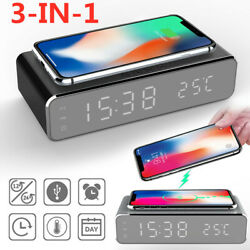3-IN-1 LED HD Digital Mirror Alarm Clock Phone Wireless Charging For IOS Android