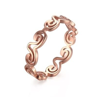 Stainless Steel 4mm Rose Gold Cut-Out Wave Design Band Ring Size 5-8