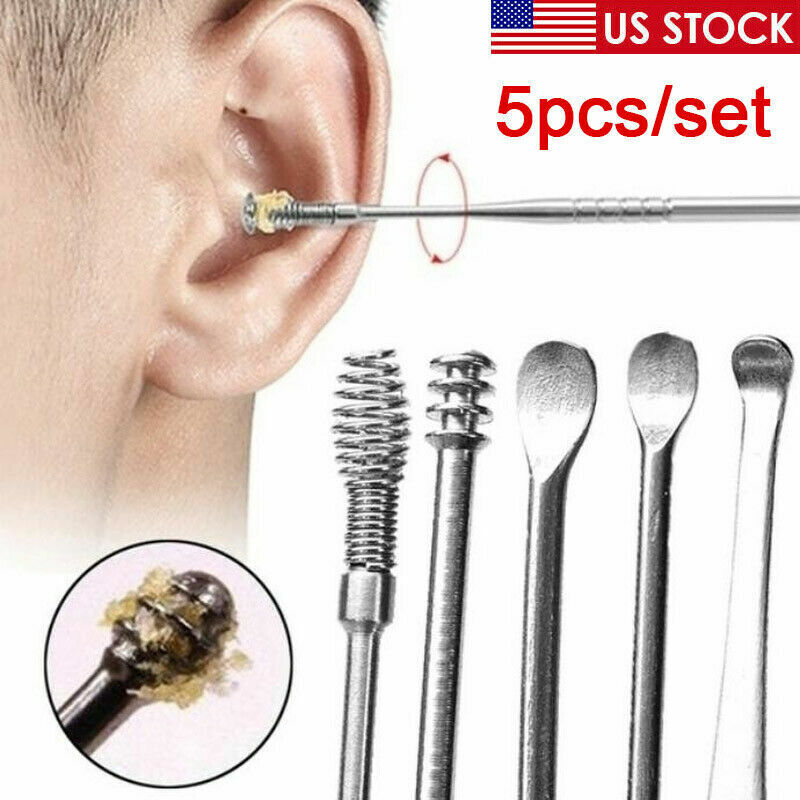 5pcs Ear Wax Pick Cleaner Remover Tool Curette Ear Spoon Individual Health Care