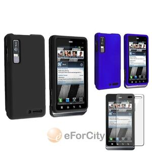 Black+Blue Rubber Hard Case Cover+2x Screen Film For Motorola Droid 3 XT862 New