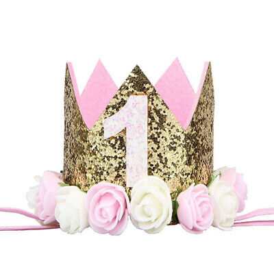 First Birthday Party Hat Decor Flower Princess Crown Decoration Party (First Birthday Party Hat)