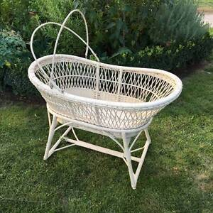 Antique Cane Bassinet on Stand w. Castors Deakin South Canberra Preview