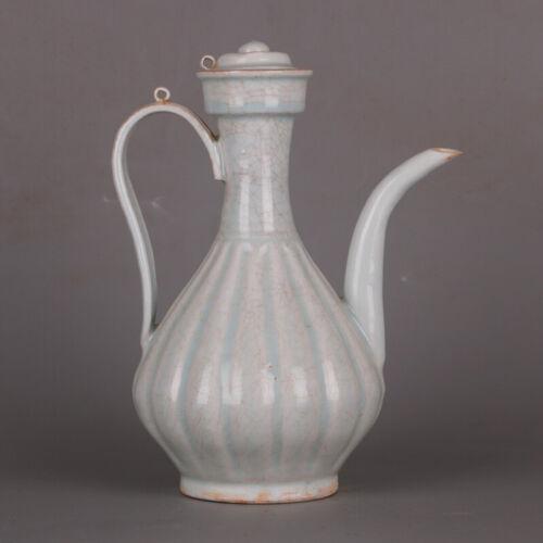 "9.5"" China Antique Song dynasty Hutian Kiln Shadow Green Glaze Porcelain Teapot"