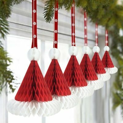 3pcs Christmas Honeycomb Santa Hats Paper Santa Claus Gifts Hanging Decorations