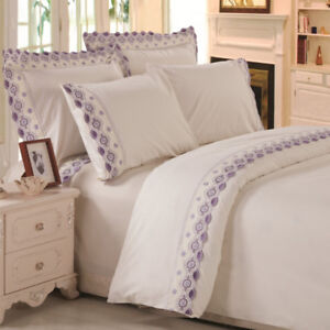 Queen size, brand new, microfiber duvet cover set embroidered