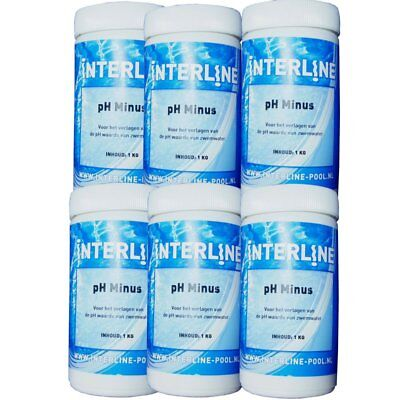pH-Minus 6 x 1 kg pH-Senker ph Regulierung pH Wert hart langsam löslich