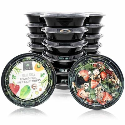 20-Pack Disposable Meal Prep Bento Lunch Box Containers Set 22 oz Microwave Safe