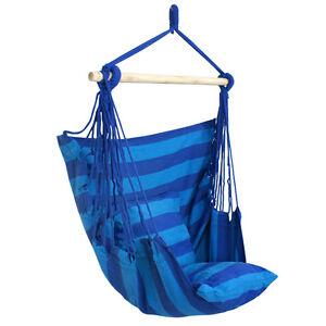Blue chair hanging rope swing hammock outdoor indoor porch for Indoor hanging rope chair