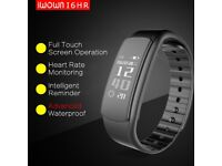 New iWOWN I6 HR Heart Rate Monitor Smart Watch IP67 Sleep Fitness Tracker for Android and iOS Black