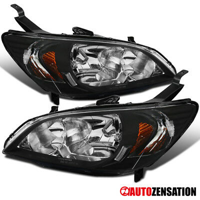 For 2004-2005 Honda Civic DX EX Coupe Sedan JDM Black Headlights Head Lamps Pair