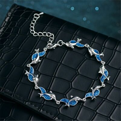 Dolphin Blue Inlay Created Opal Charm Link Bracelet Sterling Silver Plated Women Blue Created Opal Inlay Bracelet