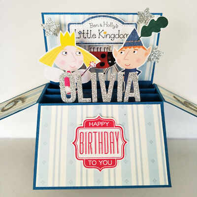 Handmade birthday card NAME & AGE PERSONALISED, ben & holly little kingdom card