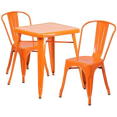 23.75 Industrial Orange Metal Indoor-outdoor Restaurant Table Set W 2 Chairs