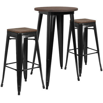 24 Black Metal Bar Height Restaurant Table Set Walnut Wood Top And 2 Barstool