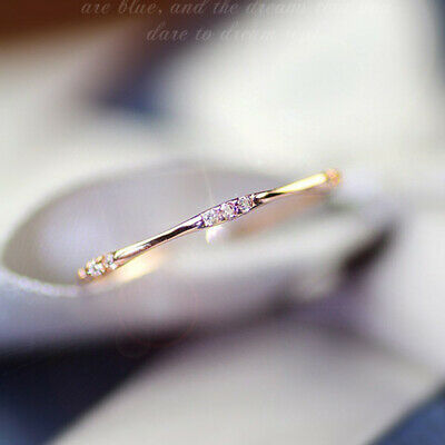 14k gold 3 tiny white topaz pieces of exquisite small fresh lady engagement (Rings Ladies 14k Ring)