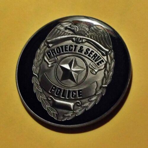 "POLICE PROTECT & SERVE - BADGE - MEDALLION - 1-3/4"""