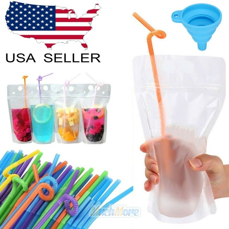 100PCS Drink Pouches Bags Stand-Up Zipper w/ Straws&Funnel for Cold & Hot Drinks