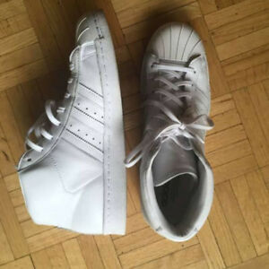 All White Adidas Superstar High Top Sneakers