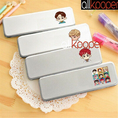 Kpop Exo Pen Box Metal Pencil Case School Stationary Makeup Do Kai Suho Lay