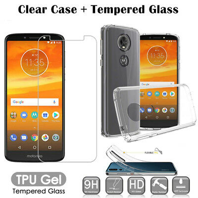 Clear TPU Case + Tempered Glass For Motorola Moto G8 E6 Plus E5 G5 G7 Power Play