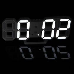 Digital 3D LED Wall Clock Alarm Clock Snooze 12/24 Hour Display USB Modern White