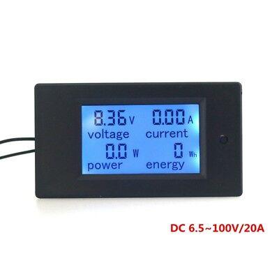 Dc100v 10a 20a Digital Blue Lcd Combo Panel Meter Volt Amp Power Watt Test