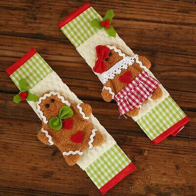 2Pcs/set Gingerbread Man Microwave Oven Handle Covers Refrigerator Xmas Decor MF Gingerbread Men Decor