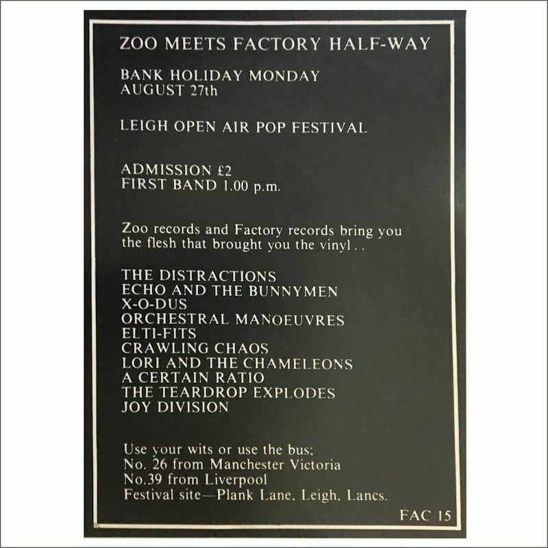 Factory Records FAC15 1979 Zoo Meets Factory Half-Way Festival Concert Poster UK