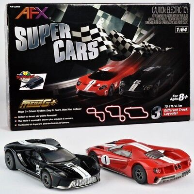 NEW AFX 22005 Super Cars Ford GT Mega G+ Tri-Power HO Slot Car Track Set FREE SH