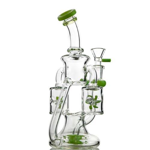 9″ Green Purple Glass Bongs Double Prop