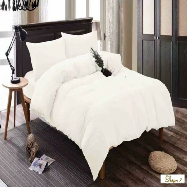 KING Bed PURE WHITE Fitted BedSheet + 2 Pillowcases Set