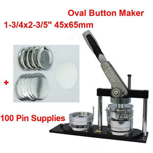 DIY Oval 65*45mm Button maker kit!Badge Maker+100 Pin back