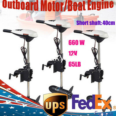 65LB Electric Trolling Motor Outboard Engine Fishing Boat Motor 660W Marine 12V