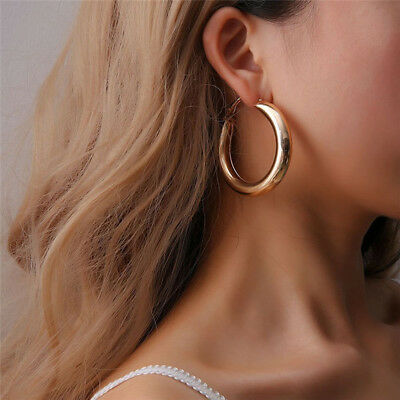 Big Gold Alloy Hoops Earrings Minimalist Thick Tube Round Circle Rings Earrings Hoop Round Ring
