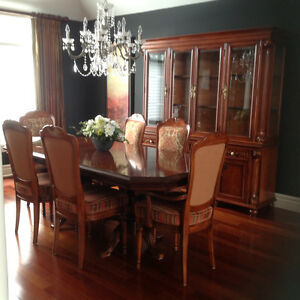 Complete Dining Room Table, Chairs, Buffet and Hutch Set