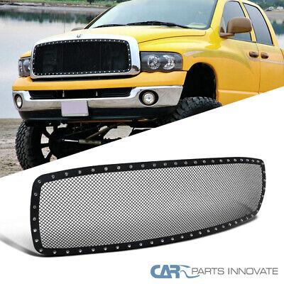 For 02-05 Dodge Ram 1500 2500 3500 Main Upper Mesh Rivet Black S/S Grille Insert