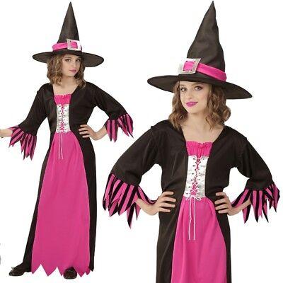 Kinder Hexe Kostüme (HEXE Kinder Kostüm Gr.158 Mädchen Kleid pink/schwarz Zauberin Halloween  #7258)