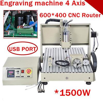 4 Axis 6040t Usb Cnc Vfd Router Engraver Milling 3d Cutter Carving Machine 1500w