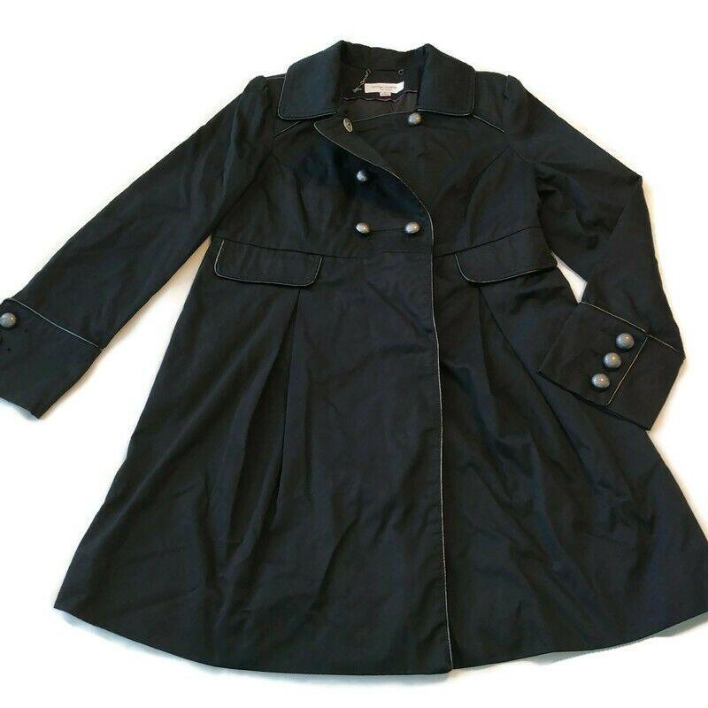 Flaw Missing Button Liz Lange Maternity Coat Jacket Sz S Fall Long Trench Black