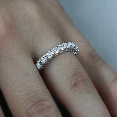 DIAMOND WEDDING BAND ANNIVERSARY RING 14K WHITE GOLD 1.45CT ROUND CUT Cut White Diamond Band