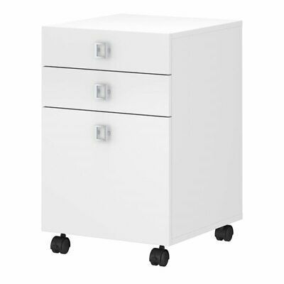 Bbf Echo By Kathy Ireland 3 Drawer Mobile Pedestal In Pure White