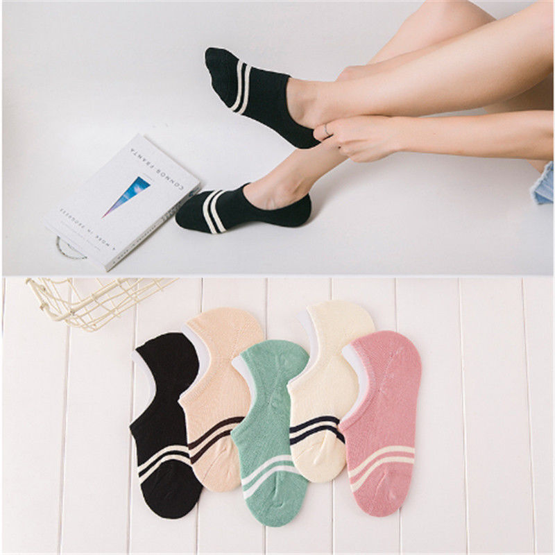 5Pairs Women Invisible No Show Nonslip Liner Low Cut Cotton