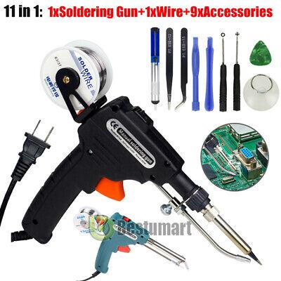 Auto Soldering Gun Kit 110v 60w With Welding Desoldering Pump Tin Wire6 Tweezes