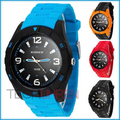 Sportliche analoge  XONIX Armbanduhr für Herren wasserdicht bis 100m (Wasserdichte Sportliche Uhr)